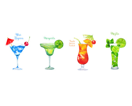 Set of watercolor cocktails: Blue Lagoon, Margarita, Tequila Sunrise, Mojito in Glass with orange slice Isolated on White Background. Vector illustration.