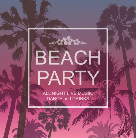 Exotic banner with Palms for Beach Party. Summer Travel and Vacation Background. Nature Landscape.