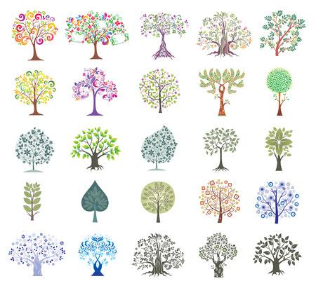 Conjunto de abstractos árboles coloridos.