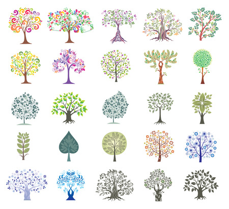 vector image: Set of Abstract Colorful Trees.