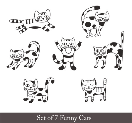 funny cats: Set of Funny Cats for Decoration. Illustration