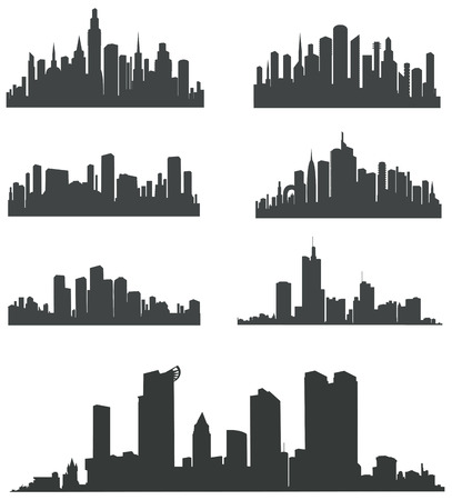 Modern City Panorama with skyscraper. Buildings Silhouette. Vector set.
