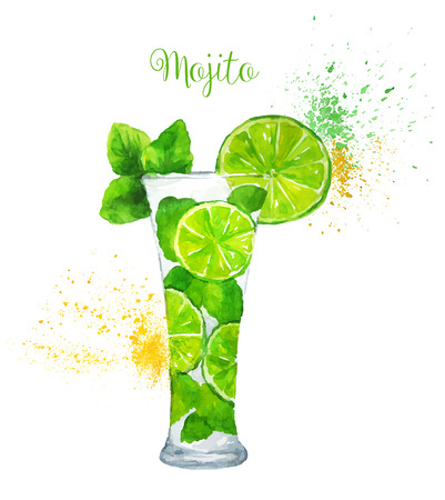 lime: Watercolor Mojito cocktail on the white background. Vector illustration.