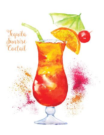 coquetel: Aquarela Tequila Sunrise Cocktail no vidro com uma fatia de laranja isolado no fundo branco. ilustração do vetor.