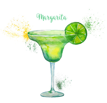 coquetel: Watercolor Margarita Cocktail in Glass with Lime Slice Isolated on White Background. Vector illustration.