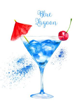 coquetel: Watercolor Blue Lagoon Cocktail isolado no fundo branco. ilustração do vetor. Ilustração