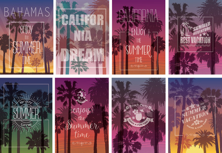 tropical sunset: Set of Exotic Palms Print with for T-shirt. Summer Travel Background. Party and Vacation banner. Nature Landscapes.