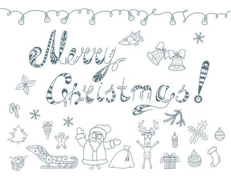 christmas element: Set of Christmas doodles element.