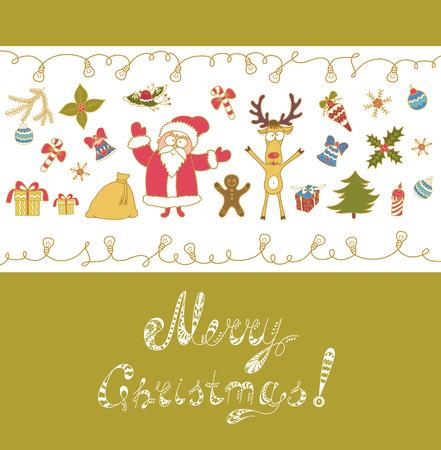 christmas tree decoration: Merry Christmas Greeting Card