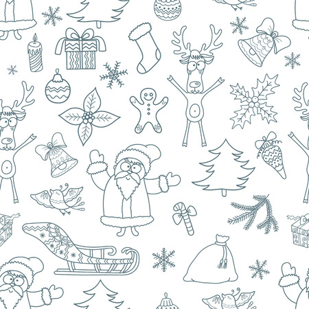 line vector: Seamless Christmas Background. Pattern with Xmas Design Elements.