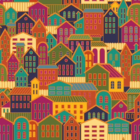 graphic design: Colorful Seamless Background Town. Illustration