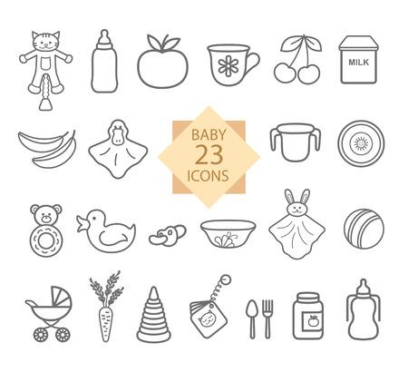 crockery: Baby Equipment. Set of icons Line: Toys, Food, Eat, Crockery. Illustration