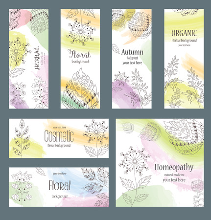 linearly: Vector Set of design Banners and Cards in trendy Linear Style for Package. Floral and Herbal ornament. Color Backgrounds with Abstract Decorative Grasses and Leaves. Illustration