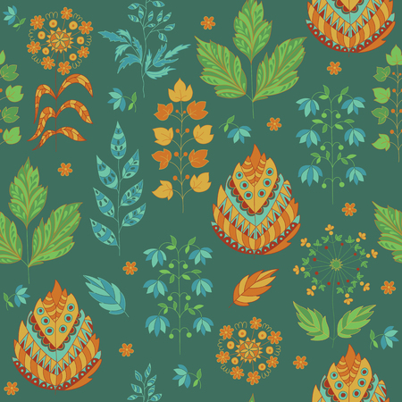 grass flower: Seasonal Seamless Pattern with Leaves and Flower. Herbal ornament.