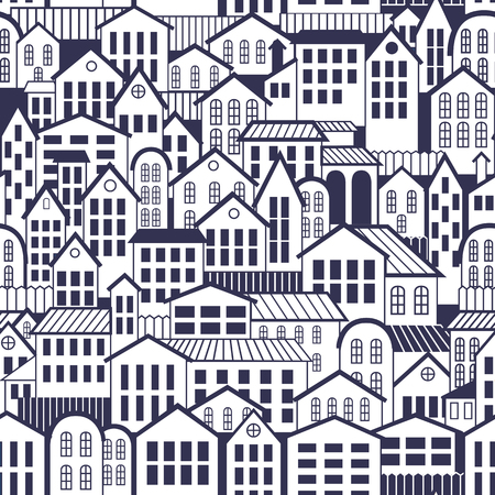 Vector Seamless Pattern Town. Wallpaper with old architecture.
