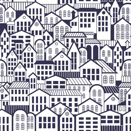 ベクトル シームレス パターンの町。古い建築を壁紙します。