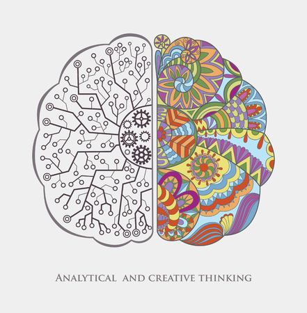 analytical: Conceptual Background with Analytical and Creative Thinking. Human Brain in the Work. Abstract Vector Graphic.