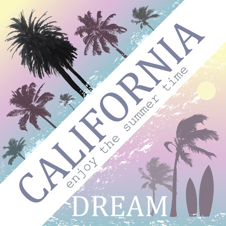 surfing: California Dream Exotic Print for T-shirt. Travel and Vacation Background with Palms.