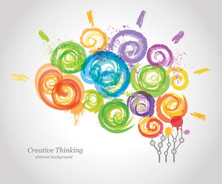Creative Human Brain in het Werk. Conceptuele achtergrond voor het bedrijfsleven en onderwijs. Vector Illustratie