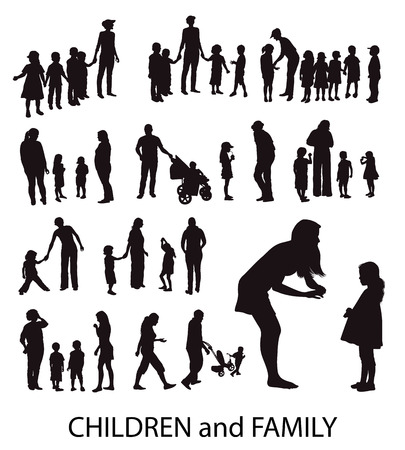 Set of vector silhouettes: Children and Families.