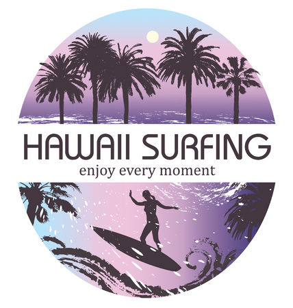 worth: Hawaii Surfing Tropical Background. Travel and Vacation banner. Illustration
