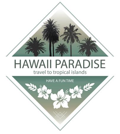 하와이 파라다이스. 야자수와 히비스커스 여름 여행 배경입니다. 일러스트