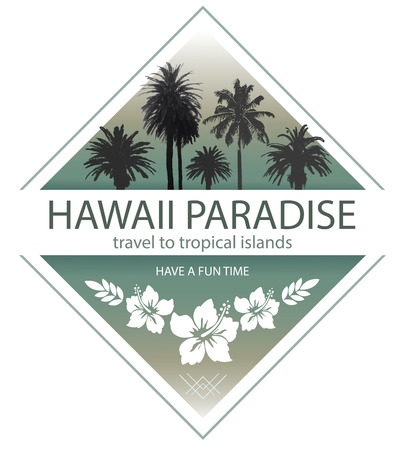 Hawaii Paradise. Summer Travel Background with Palm Trees and Hibiscus. Çizim