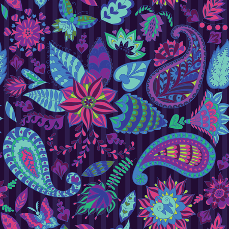 Colorful Seamless Floral Pattern with paisley for Fabric and Decoration.