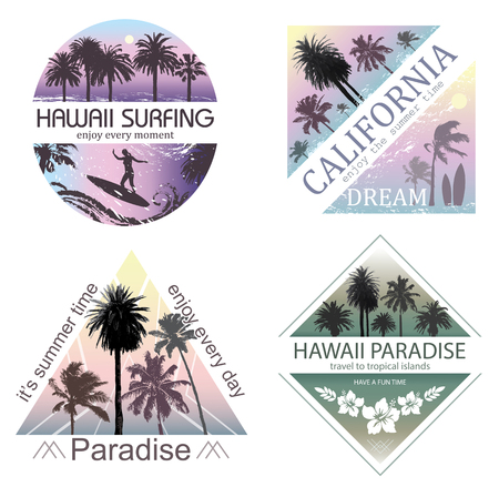 travel backgrounds: Set of Exotic Nature Landscapes with Palms for T-shirt. Summer Travel and Vacation Backgrounds. Illustration