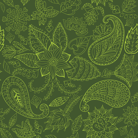 herbal: Green Seamless Floral Pattern with paisley for Fabric and Decoration.