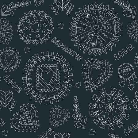 black and white: Seamless Black and White Romantic Pattern. Illustration