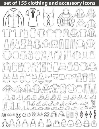 traje de baño: Conjunto de 155 iconos de línea: ropa, zapatos y accesorios. La moda femenina y masculina.