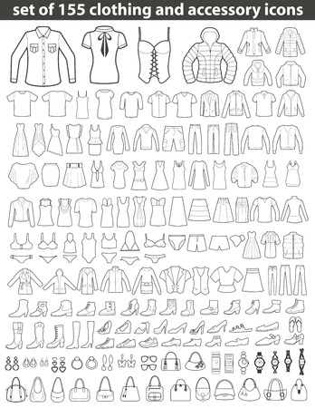 Set of 155 Line Icons: Clothing, Shoes and Accessories. Women's and Men's Fashion. Vettoriali
