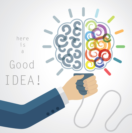 creative idea: Creative Brain Idea. Conceptual Background for Business and Study.