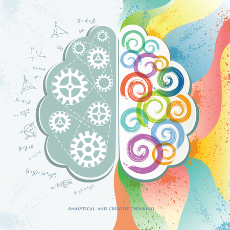 algebra: Analytical and Creative Thinking. Decorative Conceptual Banner with a Brain.