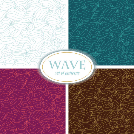 linearly: Set of Seamless Waves Patterns.