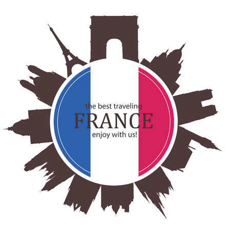 french flag: France. Travel Background with old Architecture and with french Flag.