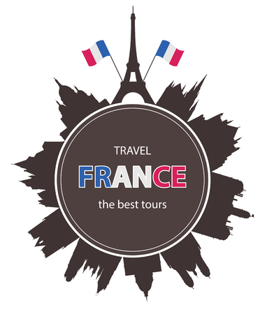 french culture: Travel background with old France Architecture. Tourism banner. Illustration