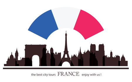 old city: France old City Tour. Tourism Banner. Travel Background with Silhouettes of Buildings.