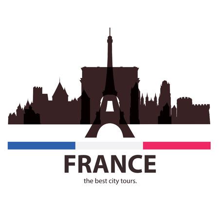 old city: France old City Tour. Tourism for Banner. Illustration