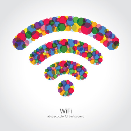 wi fi icon: Colorful WiFi Icon on White Background.