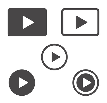 multimedia background: Play icons set isolated on the white background. Vector buttons.