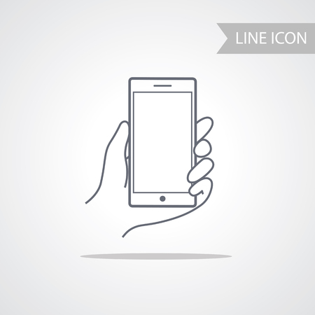 phone isolated: Mobile Phone Icon in Line Style isolated on white Background.