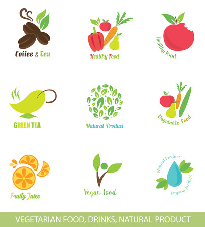 vegetarians: Set of Vector Icons and Design Elements for Organic Food. Vegetarian Food. Vegan Food. Natural Drinks. Healthy Eating.