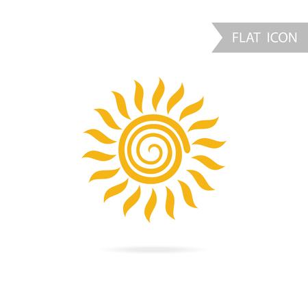 buzzer: Sun Icon and Design Element isolated on White Background. Illustration