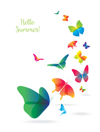 buzzer: Colorful Butterflies Isolated on White Background. Summer and Spring Banner.