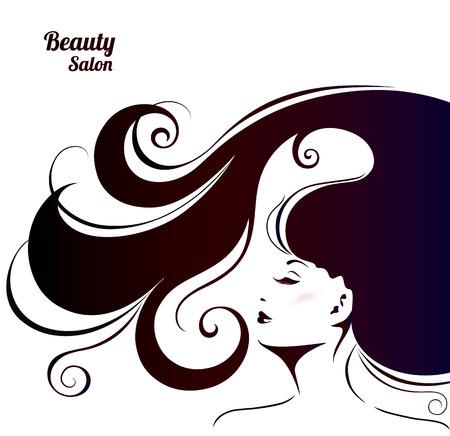 Vektor-Illustration für Frau Beauty Salon. Mode-Hintergrund mit jungen Frau für Make Up, Kosmetik und Haarstyling.