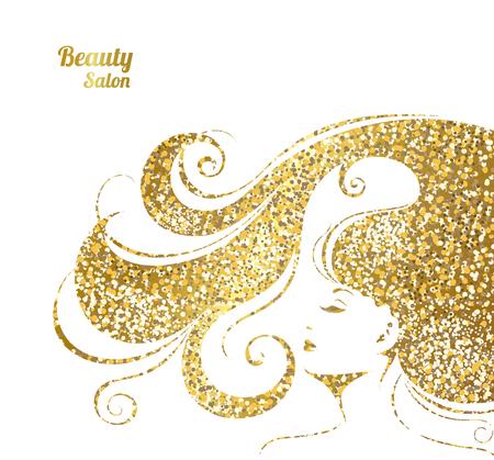 女性美容サロンのベクトル図です。メイクアップ、化粧品とヘアスタイ リングの若い女性のファッション背景。