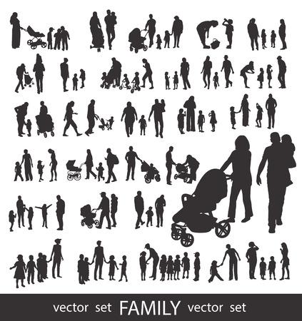Conjunto de siluetas muy detalladas de la familia: los hombres, las mujeres y los niños aislados en blanco.