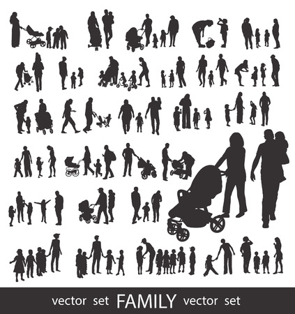 Set of very detailed Family Silhouettes: Mens, Womens and Children isolated on white. Ilustração